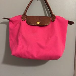 Longchamp Le Pliage Small Tote Pink Short Handle